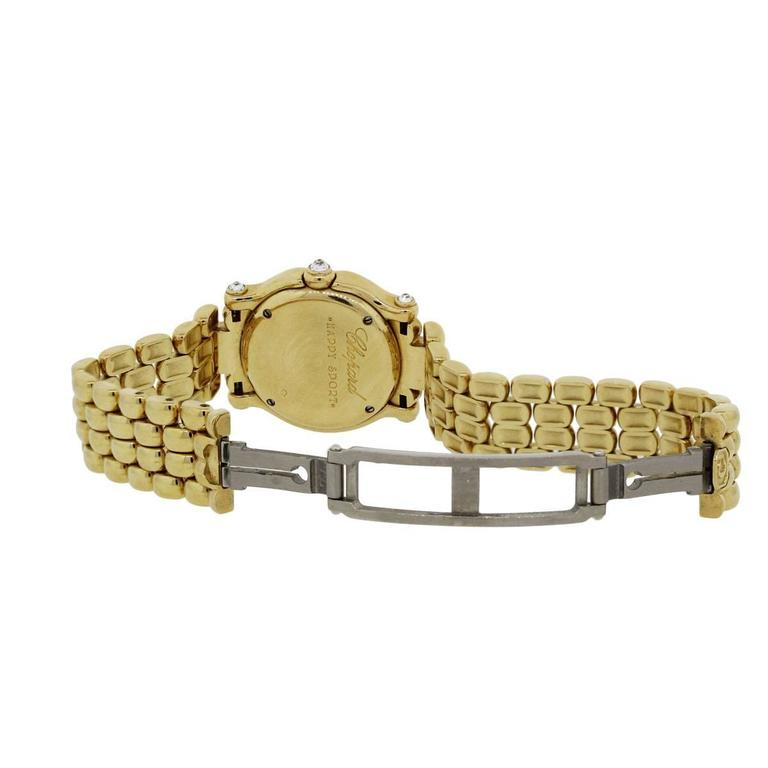 Chopard Lady's Yellow Gold Diamond Happy Sport Quartz Wristwatch In Excellent Condition For Sale In Boca Raton, FL