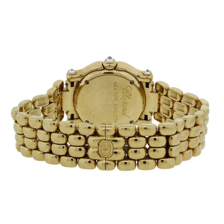 Women's Chopard Lady's Yellow Gold Diamond Happy Sport Quartz Wristwatch For Sale