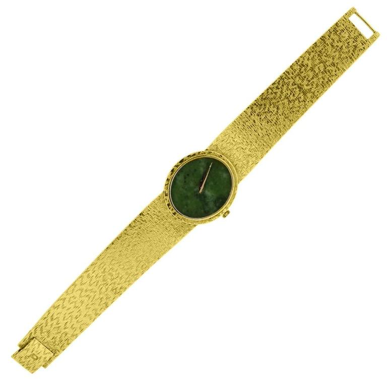 Piaget Ladies Yellow Gold Jade Stone Manual Dial Wristwatch For Sale 1
