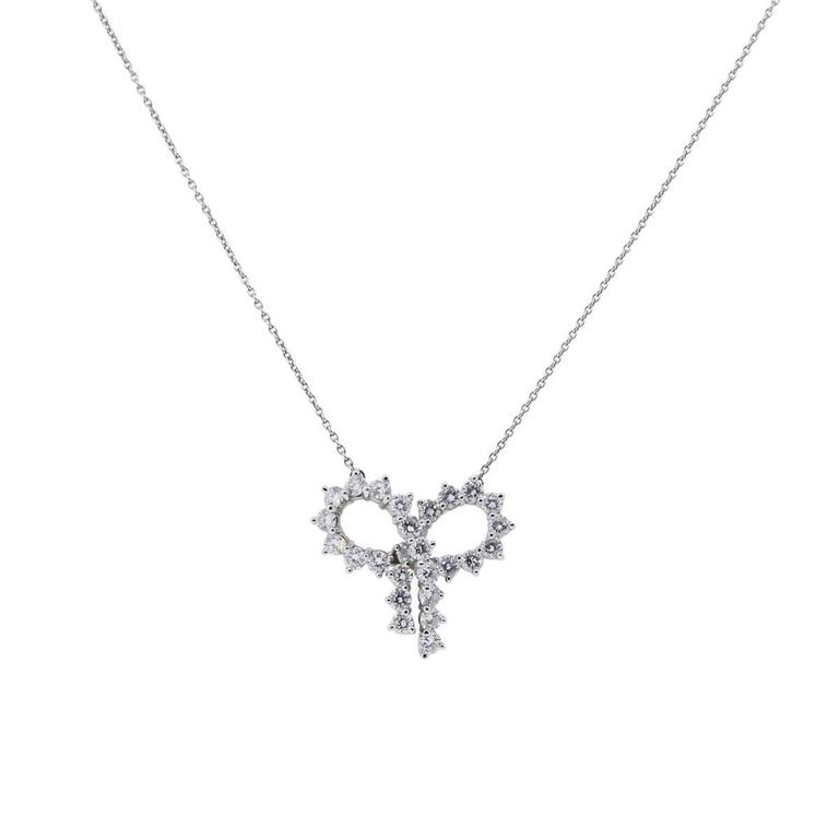 Tiffany & Co. Diamond Platinum Large Bow Pendant Necklace 2