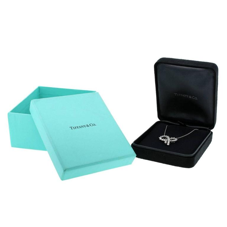 Tiffany & Co. Diamond Platinum Large Bow Pendant Necklace 5