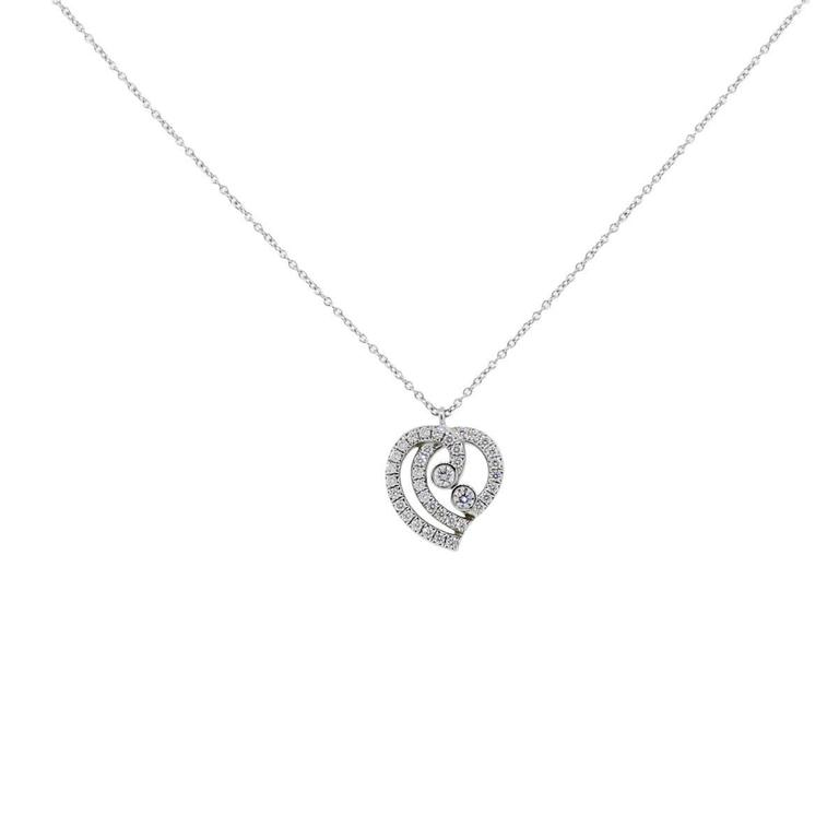 Tiffany and co diamond platinum heart pendant necklace for sale at style tiffany coatinum diamond heart pendant necklace length necklace is 16 aloadofball Images