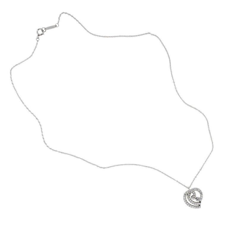 Tiffany & Co. Diamond Platinum Heart Pendant Necklace In Excellent Condition For Sale In Boca Raton, FL