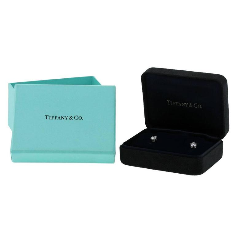 Tiffany & Co. Diamond Platinum Stud Earrings In Excellent Condition For Sale In Boca Raton, FL