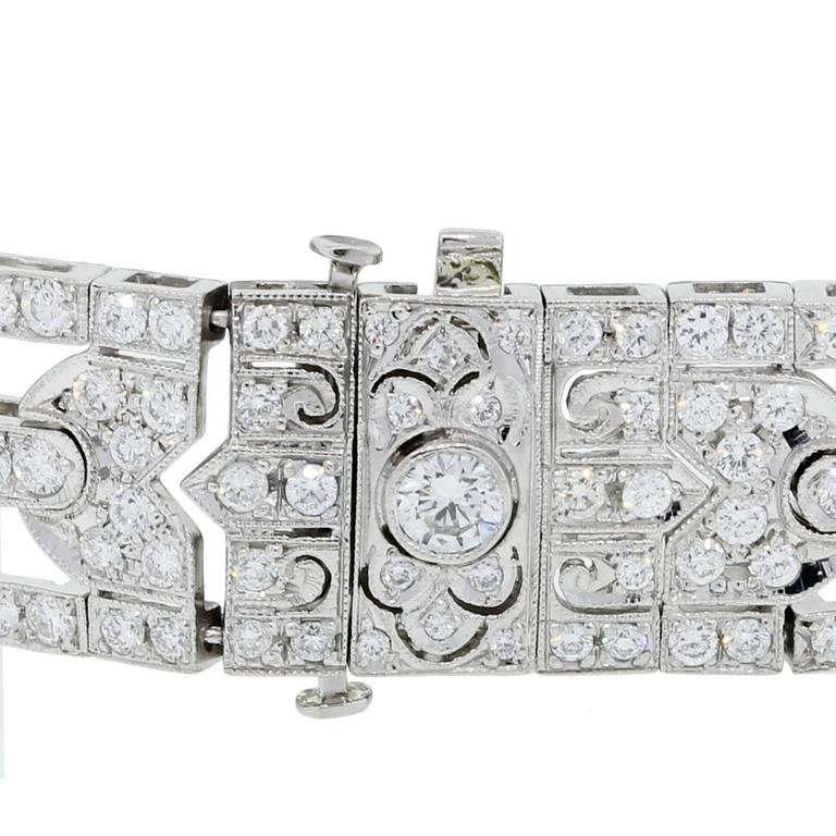 Art Deco Diamond Platinum Bracelet In Excellent Condition For Sale In Boca Raton, FL