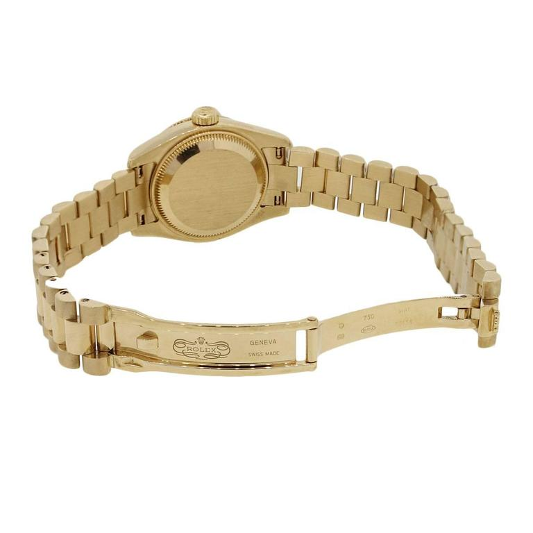 Rolex Lady's Yellow Gold Diamond Dial Datejust Presidential Automatic Wristwatch In Excellent Condition For Sale In Boca Raton, FL