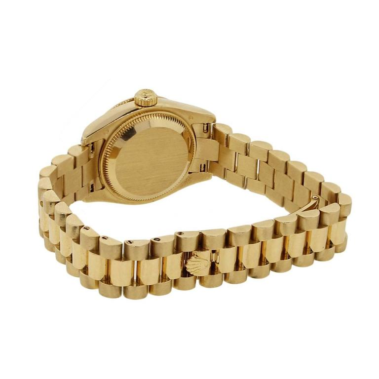 Round Cut Rolex Lady's Yellow Gold Diamond Dial Datejust Presidential Automatic Wristwatch For Sale
