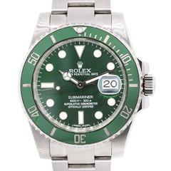 Rolex Stainless Steel Submariner Green Dial Ceramic Green Bezel Wristwatch