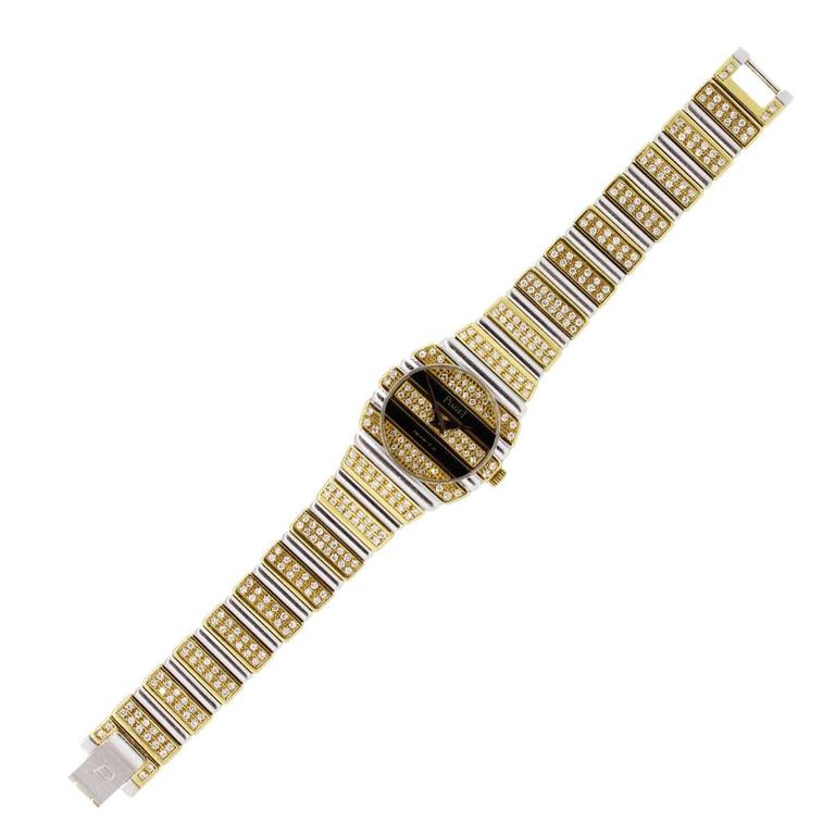 Piaget Lady's Yellow and White Gold Diamond Quartz Wristwatch In Excellent Condition For Sale In Boca Raton, FL