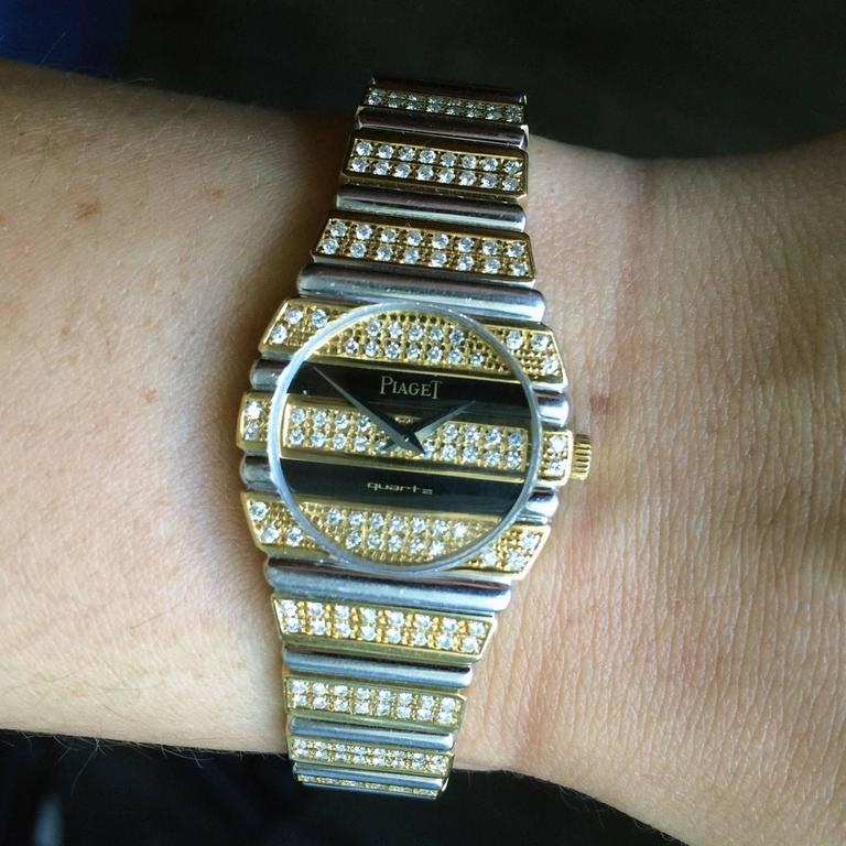 Piaget Lady's Yellow and White Gold Diamond Quartz Wristwatch For Sale 2