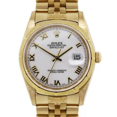 Rolex Yellow Gold Datejust Jubilee Bark Band Automatic Wristwatch