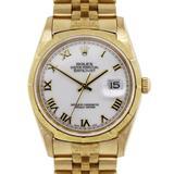 Rolex Yellow Gold Datejust Jubilee Bark Band Automatic Wristwatch