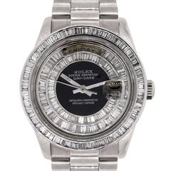 Rolex White Gold Diamond Day Date Wristwatch Ref 18039