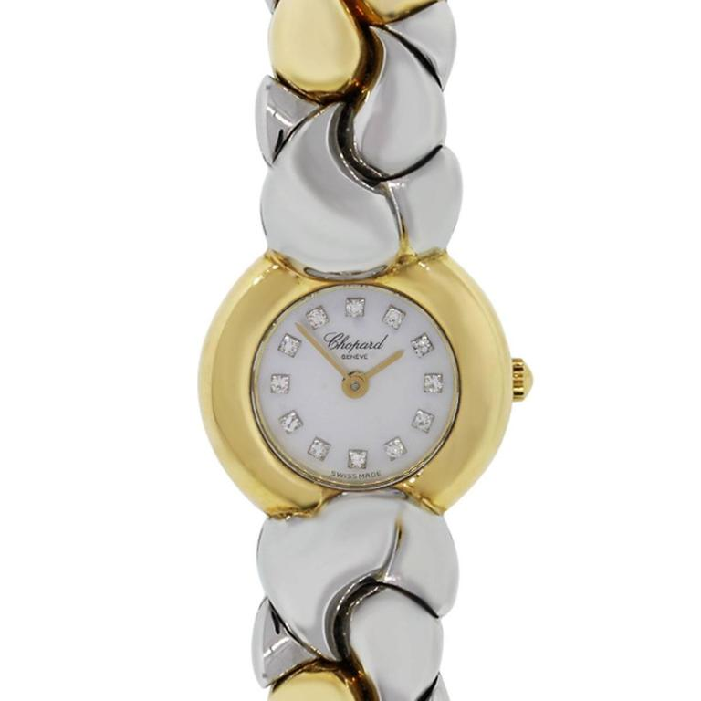 Chopard Yellow Gold Stainless Steel Diamond Dial Casmir Quartz Wristwatch For Sale