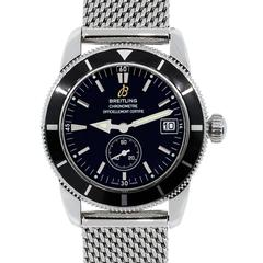 Breitling Stainless Steel Black Dial Superocean Heritage Automatic Wristwatch