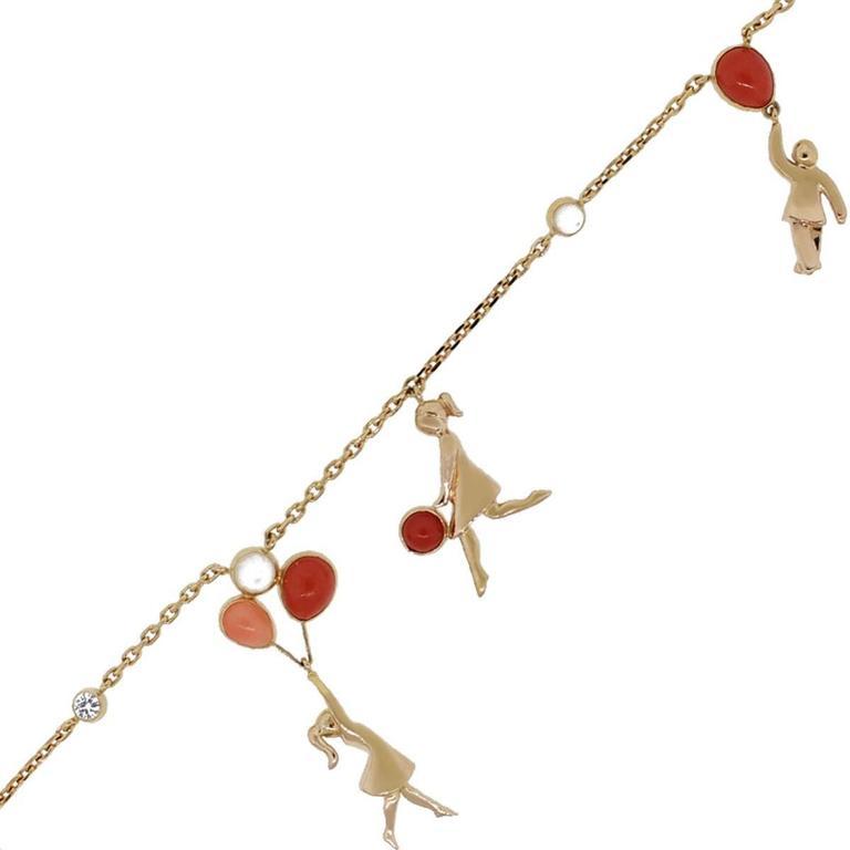 Van Cleef & Arpels Coral Moonstone Gold Romance Bracelet For Sale