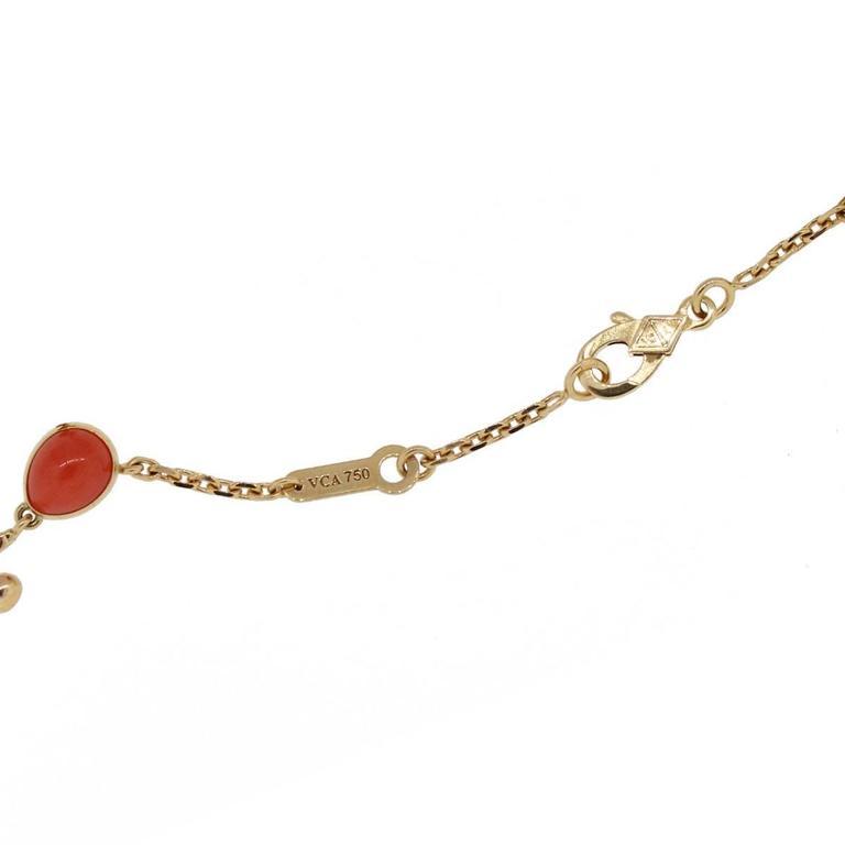 Van Cleef & Arpels Coral Moonstone Gold Romance Bracelet In Excellent Condition For Sale In Boca Raton, FL