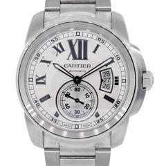 Cartier Stainless Steel Calibre Silvered Dial Automatic Wristwatch