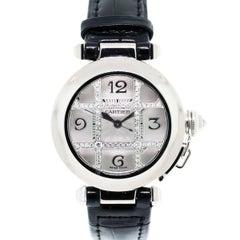 Cartier White Gold Diamond Grill Pasha de Cartier Automatic Wristwatch Ref 2529