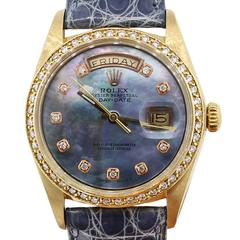 Rolex Yellow Gold Mother Of Pearl Diamond Dial Day-Date Presidential Wristwatch