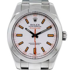 Rolex Stainless Steel White Dial Milgauss Automatic Wristwatch