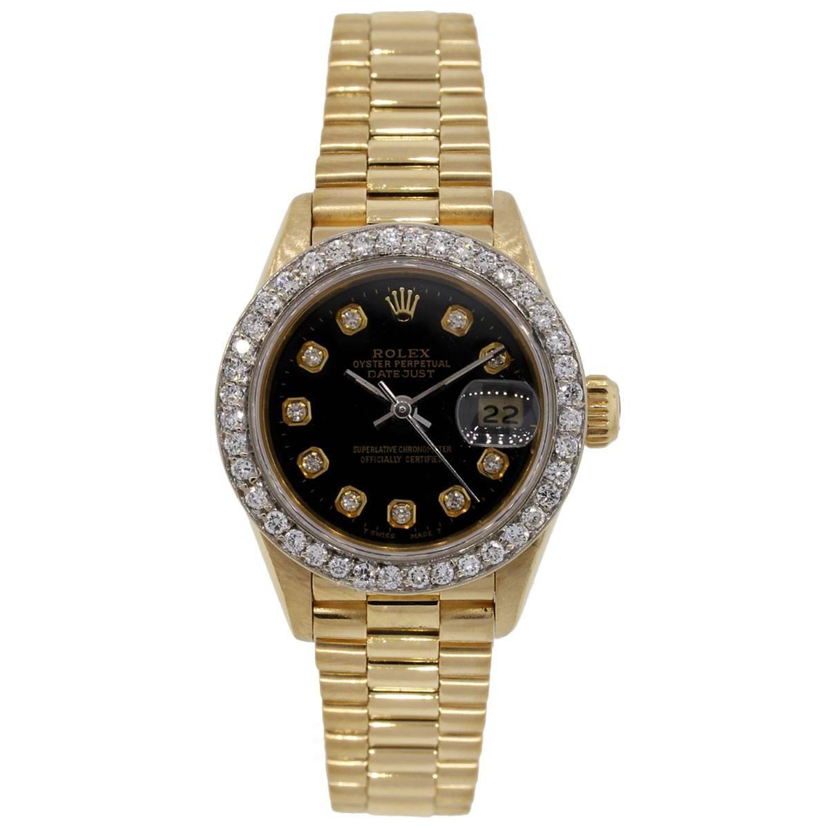Rolex Ladies Yellow Gold Diamond Datejust Presidential Automatic ...