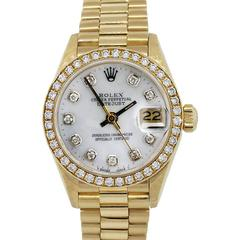 Rolex Ladies Yellow Gold Mother of Pearl Diamond Datejust Automatic Wristwatch