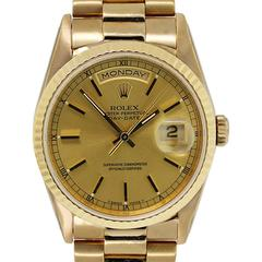 Rolex Yellow Gold Presidential Day-Date Stick Dial Automatic Wristwatch