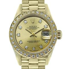 Rolex Ladies Yellow Gold Diamond Bezel Datejust Automatic Wristwatch