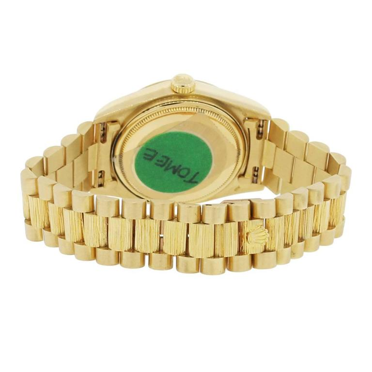 Rolex Yellow Gold Day Date Champagne Dial Presidential Automatic Wristwatch  In New Condition For Sale In Boca Raton, FL