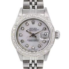 Rolex Ladies Stainless Steel Diamond Dial Datejust Automatic Wristwatch