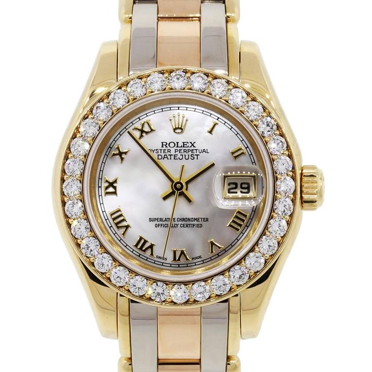 Rolex Ladies Yellow Gold Stainless Steel Tridor Pearlmaster Datejust Wristwatch  1
