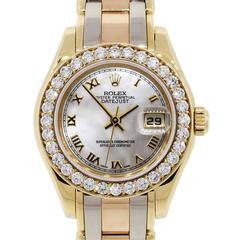 Rolex Ladies Yellow Gold Stainless Steel Tridor Pearlmaster Datejust Wristwatch
