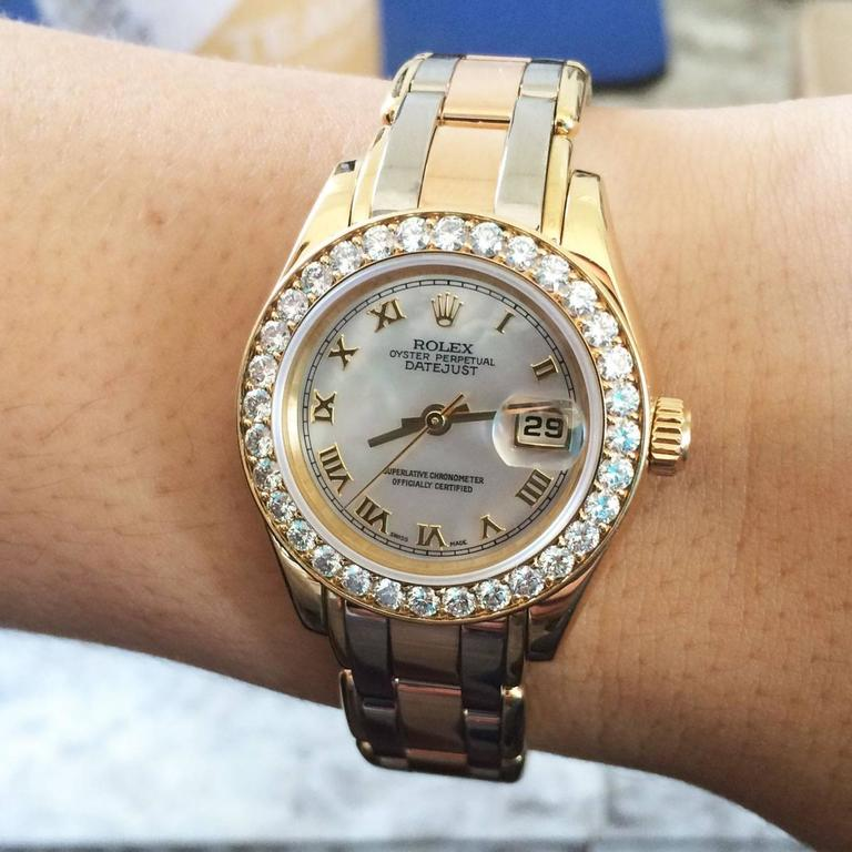 Rolex Ladies Yellow Gold Stainless Steel Tridor Pearlmaster Datejust Wristwatch  5