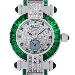 Chopard 18k White Gold Emerald Diamond Ladies Watch