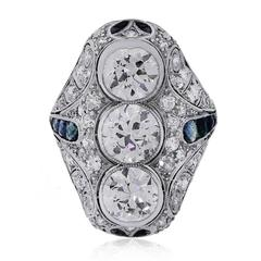 Platinum 4.80ctw Sapphire Diamond Vintage Ring