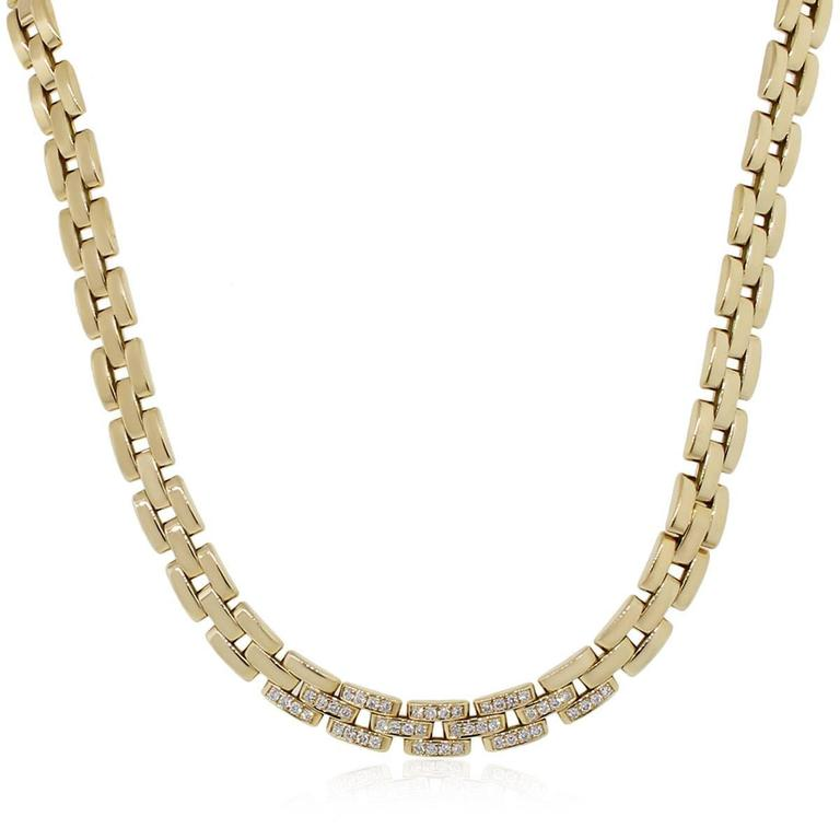 Cartier Yellow Gold Panther Three Row Diamond Gold Necklace