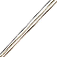 14k Tri Color 3.15ctw Diamond Tennis Bracelet