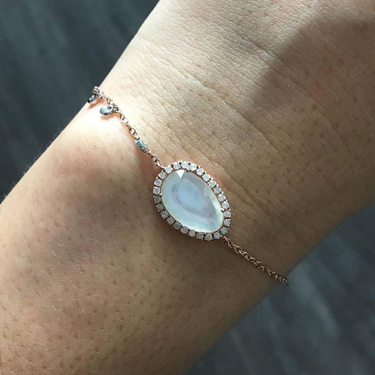 Meira T Rose Gold 2 74 Carat Mother Of Pearl Diamond Bracelet For 1
