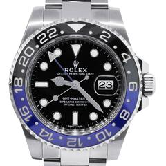 Rolex Stainless Steel GMT Master II Black and Blue Batman AutomaticWristwatch