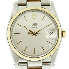 Tudor Prince Yellow Gold Stainless Steel Silvered Dial Automatic Wristwatch