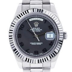 Rolex White Gold Day-Date II Black Concentric Dial Automatic Wristwatch