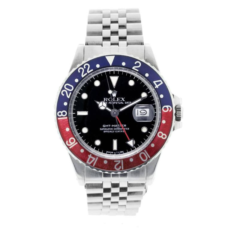 Rolex Stainless Steel GMT Master Pepsi Bezel Automatic Wristwatch In As New Condition For Sale In Boca Raton, FL