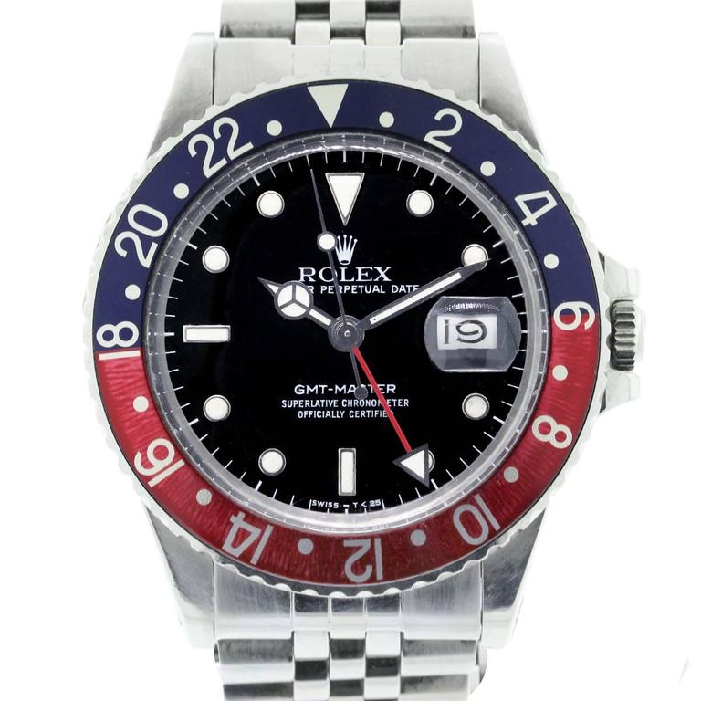 Rolex Stainless Steel GMT Master Pepsi Bezel Automatic Wristwatch For Sale