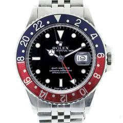 Rolex Stainless Steel GMT Master Pepsi Bezel Automatic Wristwatch