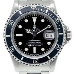 Rolex Stainless Steel Black Dial Submariner Automatic Wristwatch