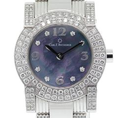 Carl F Bucherer Ladies White Gold Dial Pathos Diamond Quartz Wristwatch
