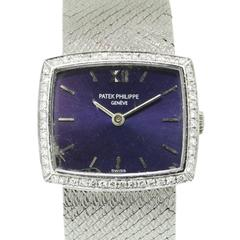 Patek Philippe Ladies White Gold Diamond Bezel Manual Wind Wristwatch