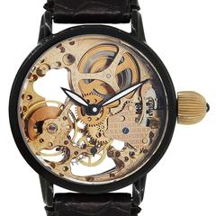 Kreiger Stainless Steel Gigantium Black PVD Skeleton Leather Manual Wristwatch