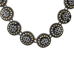 John Hardy Sterling Silver and Yellow Gold Round Link Necklace